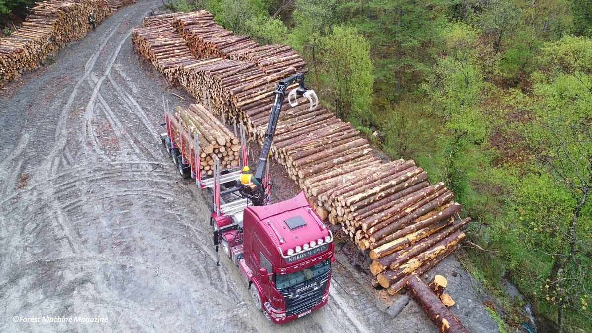Aerial-view-of-Wayne-Richards-loading-a-Scania-R730