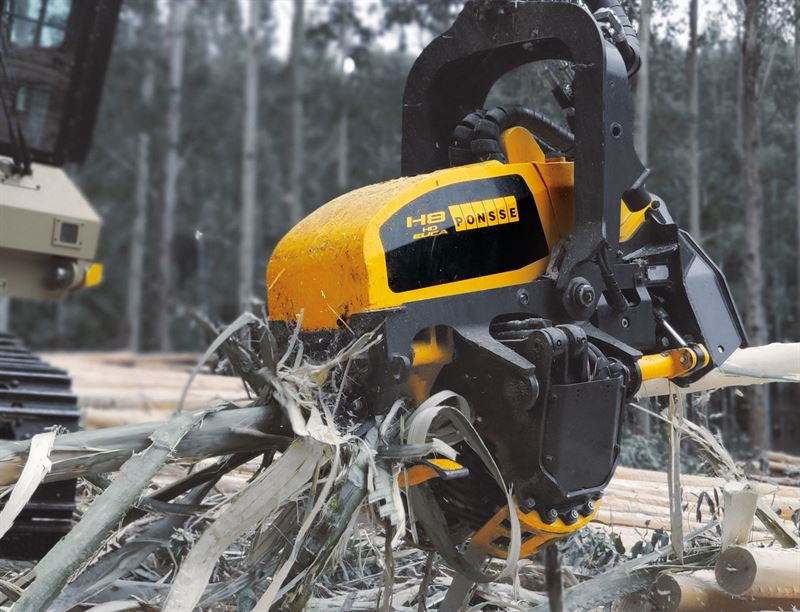 Ponsse's new debarking H8HD Euca harvester head for eucalyptus