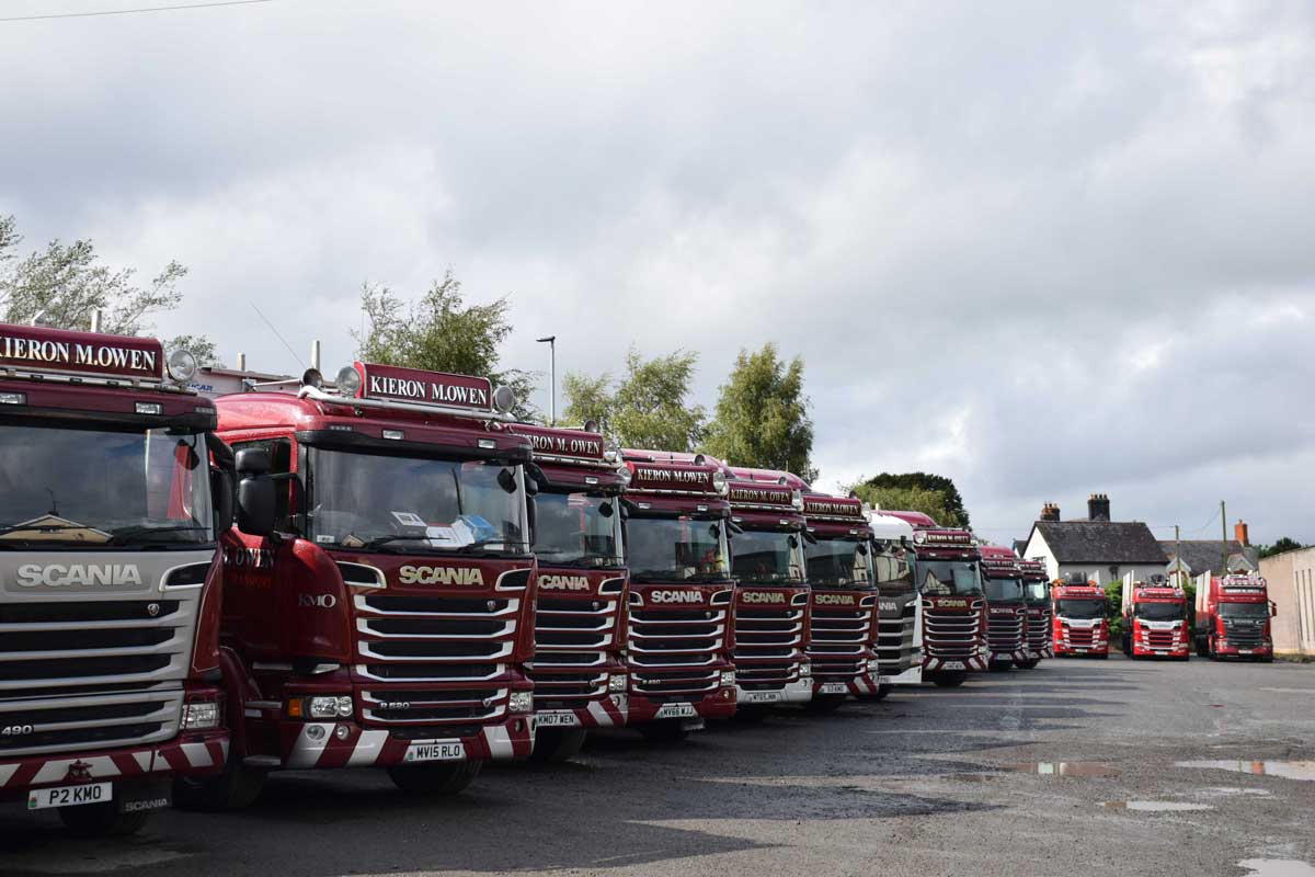 Kieron Owens's timber lorries allined up in a row in his yard