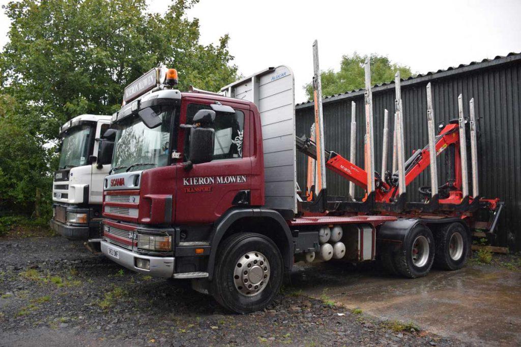 Short wheel based timber lorry in Kieron Owens' yard