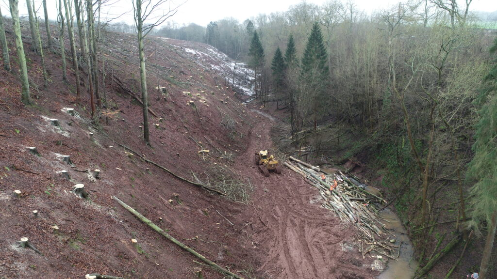 Aerial view of a tricky felling site