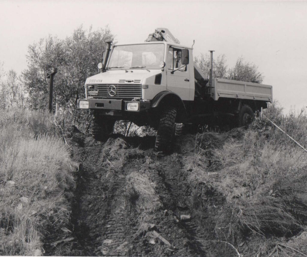 Unimog at the off-road testing track at Knockhill.
